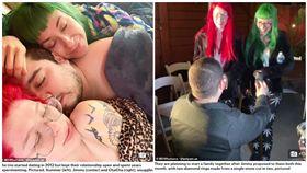 情侶「同時愛上紅髮妹」 他交往周年鑽戒對切…下跪求婚2女!(圖/翻攝自每日郵報)