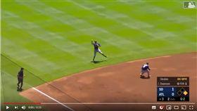 ▲馬查多(Manny Machado)再秀強肩,從外野草皮傳一壘刺。(圖/翻攝自Trending Daily Sports Videos)