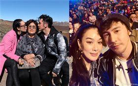 鍾麗緹和老公張倫碩/婆婆。微博