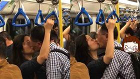 列車,激吻,濕吻,乘客,地鐵,香港,攻防,厭世,放閃,情侶,崩潰 圖/翻攝自臉書