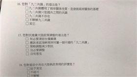 統戰問卷(圖/翻攝自只是堵藍 臉書)