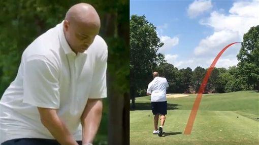 ▲巴克利(Charles Barkley)打高爾夫慘不忍睹。(圖/翻攝自NBA on TNT)
