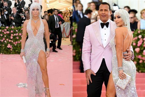 ▲珍妮佛羅培茲(Jennifer Lopez)和未婚夫A-Rod(Alex Rodriguez)出席2019Met Gala。(圖/翻攝自推特)