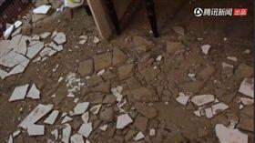 福建漳州飯店天花板崩落。(圖/翻攝自騰訊視頻)