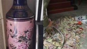 花瓶藏私房錢。(圖/翻攝自梨視頻)