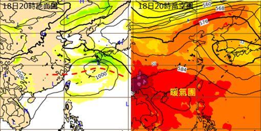 圖:最新(9日20時)歐洲中期預報中心(ECMWF)模式模擬顯示,下週六(18日)20時鋒面仍在華中一帶(左圖),暖氣團持續偏強(右圖)。