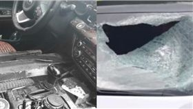 白色轎車被鐵塊砸中擋風玻璃,副駕駛傷重不治。(圖/翻攝自梨視頻)