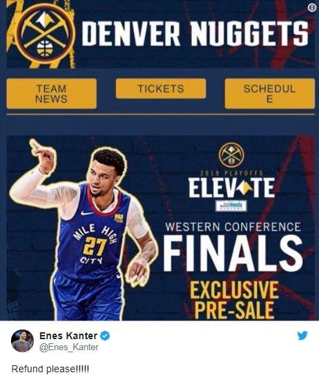NBA/金塊預售西冠門票…糗遭淘汰NBA,季後賽,丹佛金塊,波特蘭拓荒者,Enes Kanter翻攝自推特