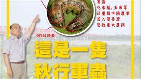 行政院長蘇貞昌14日上午在LINE群組呼籲民眾留意秋行軍蟲。(圖/翻攝LINE群組)