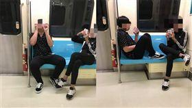 男同學搭捷運吃東西、腳踩椅子。(圖/翻攝自爆怨公社)