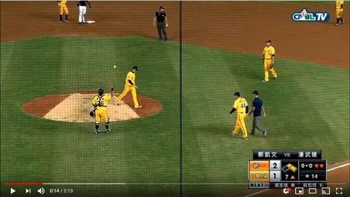 ▲鄭凱文不等投手教練上投手丘,球一丟直接走下場。(圖/翻攝自YouTube)