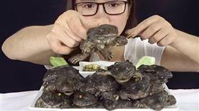 越南女YouTuber吃田雞。(圖/翻攝自YouTube)