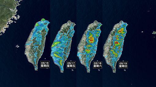 台灣16日到19日預計降雨情形。(圖/翻攝自臉書「天氣風險WeatherRisk」)