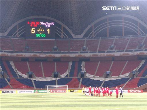 ▲航源FC去年在朝鮮平壤比賽。(圖/記者林辰彥攝影)