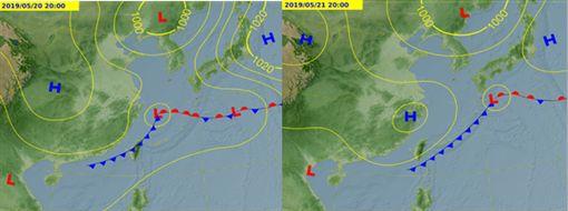圖:最新氣象局預測圖顯示,「梅雨季」第三道鋒面,大約在下週一(20日)下半天抵達(左圖),並影響至下週二(21日)上半天。因為是移動性鋒面,下週二下半天、天氣逐漸好轉(右圖)。