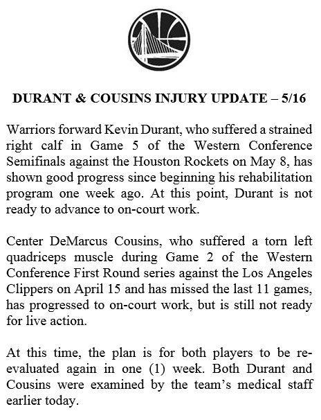 NBA/客場不隨隊!KD將再缺2戰NBA,季後賽,金州勇士,Kevin Durant,受傷,DeMarcus Cousins翻攝自推特