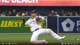 ▲馬查多(Manny Machado)撲接單膝跪地傳一壘。(圖/翻攝自MLB YouTube)