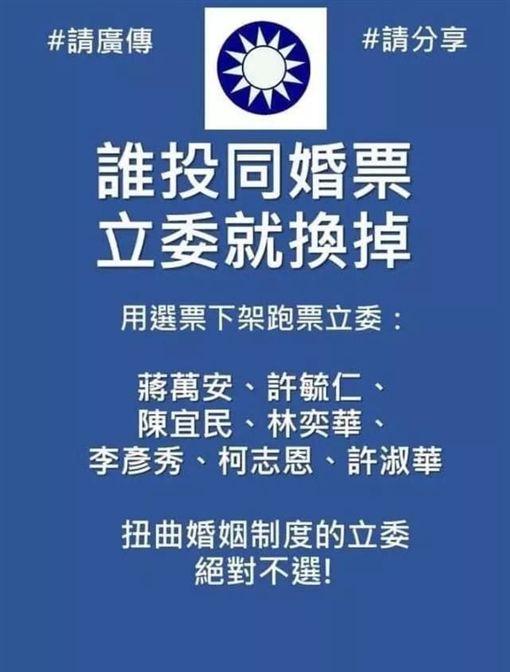 國民黨立委挺同婚 支持者發起「誰投同意票,立委就換掉」(圖/翻攝自臉書)