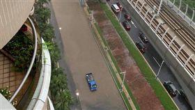 新北,淡水,空拍,塞車,淹水(圖/翻攝台灣鬼島GSR600/750)