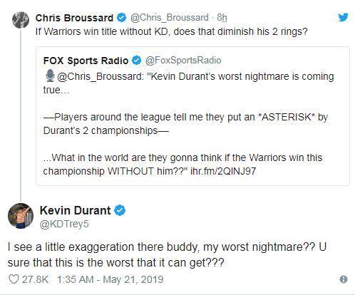 NBA/遭評2冠不純 KD推特回嗆NBA,季後賽,金州勇士,Kevin Durant,受傷翻攝自推特