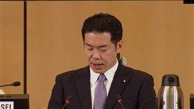 WHA發言  日本挺台不應被遺漏日本厚生勞動大臣政務官新谷正義今天在世界衛生大會發言,表示防治疫情必須沒有人被遺漏。(圖取自WHO網站)中央社記者唐佩君日內瓦傳真 108年5月21日