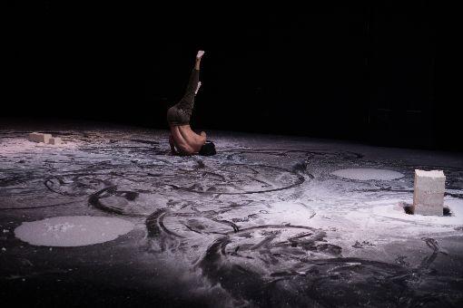 林怡芳編微塵共感 邀街舞舞者詮釋現代舞台灣旅法編舞家林怡芳編創舞作「微塵共感」,由5名男性街舞舞者演出現代舞,並在不同質地的太白粉中透過陽剛的男性肢體,詮釋細膩的人際情感。中央社記者洪健倫攝 108年5月22日