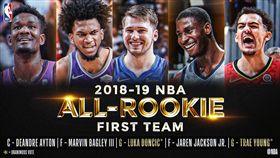 NBA年度新秀第一隊。(圖/翻攝自NBA官方推特)