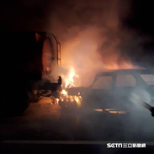 彰化台61線西濱南下169公里火燒車/民眾提供