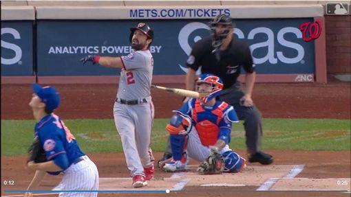 ▲國民伊頓(Adam Eaton)首局首打席全壘打。(圖/翻攝自MLB官網)