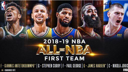 ▲NBA公布年度第一隊。(圖/取自NBA推特)