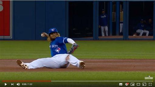 ▲小葛雷諾(Vladimir Guerrero Jr.)接球後直接坐在地上傳一壘刺。(圖/翻攝自MLB YouTube)