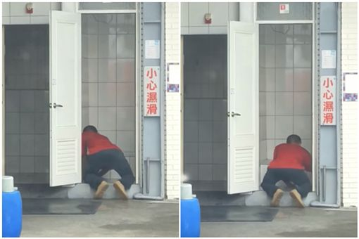 加油站,清潔工,打掃,跪地(圖/翻攝自爆怨公社)