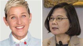 另類外交!艾倫讚台灣同婚「亞洲第一國」 蔡英文:愛最大(合成圖/翻攝自Ellen Degeneres臉書、總統府提供)
