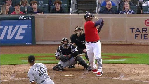 ▲雙城三壘手沙諾(Miguel Sano)先敲界外全壘打再開轟。(圖/翻攝自MLB官網)