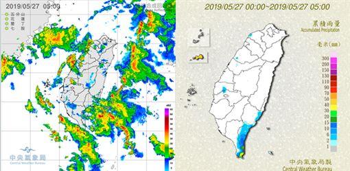 圖:今(27日)晨5時雷達回波圖(左圖)顯示,西南部近海及東側海面上,已有偏南風因地形造成輻合作用,而生成的回波。5時累積雨量圖(右圖)顯示,恒春半島及台東已有明顯降雨,西部沿海亦有零星降雨。