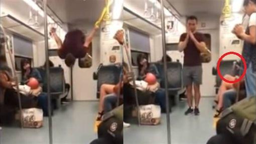 老外在台鐵表演體操、熱舞/翻攝自臉書報料公社