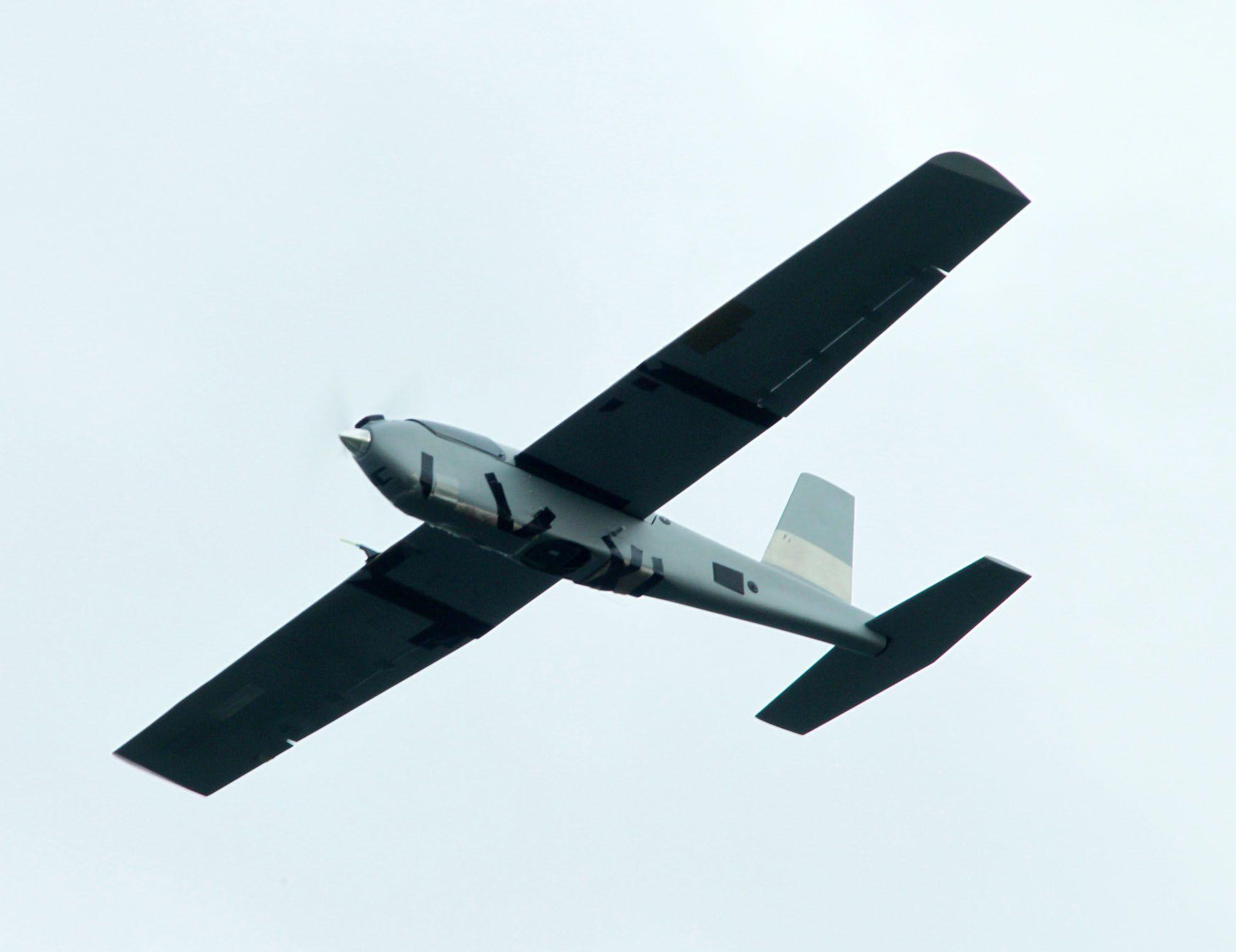 海軍陸戰隊紅雀無人機執行戰場偵蒐。(記者邱榮吉/彰化花壇拍攝)