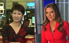 美國福斯財經新聞網主播黎根(右)與中國環球電視網主播劉欣(左)在網上就貿易議題互嗆,電視辯論30日台灣時間上午8時登場。(組圖/翻攝自Trish Regan臉書、LIU Xin Twitter)