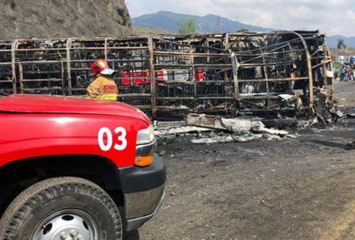 卡車和巴士被火焰吞噬,至少21死30傷。(圖/翻攝自Mexico Times Co News Twitter)