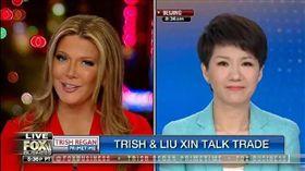 沒有火花?美中女主播貿易戰開辯 官腔發言像做專訪(圖/翻攝自twitter)