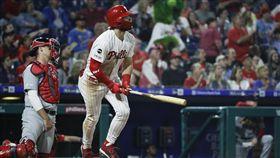 ▲哈波(Bryce Harper)相隔8場比賽開轟,本季第10發全壘打出爐。(圖/美聯社/達志影像)