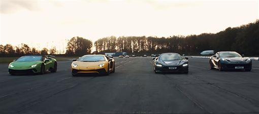 ▲McLaren 720S VS Ferrari 812 Superfast VS Lamborghini Aventador SV VS Huracan Performante Spyder(圖/翻攝網路)
