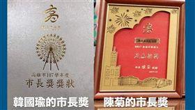 ▲網友列出去年陳菊的市長獎狀,直呼比今年「摩天輪版本」有美感(圖/翻攝《高雄好過日》臉書)
