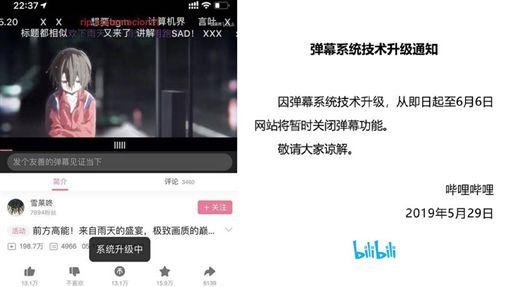 「六四天安門事件」是中國近代史上的一大傷痕,1989年至今將屆滿30年,沒想到中國在網路上似乎開始「動手腳」,許多直播平台、知名影音紛紛貼出公告,將進行「彈幕升級」、「系統維護」,直到6月7日才會開放彈幕功能。不少大陸網友看到後,無奈表示:「早已習慣了…」(圖/翻攝自微博)