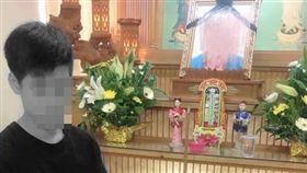 新竹,少年,單親爸,猝死,喪葬費,靈堂。翻攝自陳在斌臉書