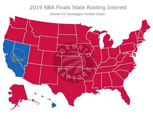 ▲紅色區塊都是力挺暴龍摘冠的州。(圖/翻攝自SFGATE推特)