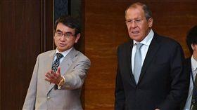 (16:9)日俄外交部長會談。(圖/翻攝自河野太郎推特)
