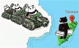 六四30週年!坦克貓熊對上民主黑熊 (圖/翻攝自Taiwan in München臉書)