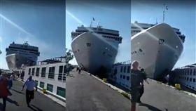 威尼斯,碼頭,郵輪,義大利,逃跑,撞痕,舷梯,失控,撞擊,意外撞痕 圖/翻攝自YouTube