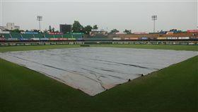 台南球場積水不退比賽被迫延期。(圖/統一獅提供)